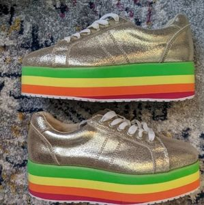 NWOT Very Volatile Gold Rainbow Platform Sneakers